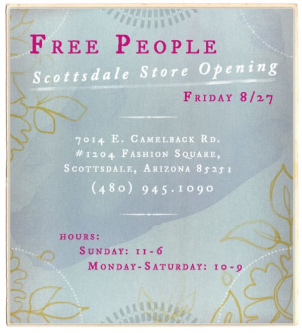 Post image for free people scottsdale opens today!