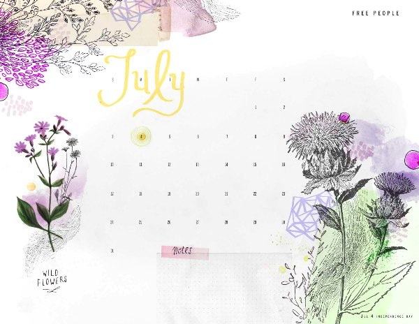 Post image for july calendar download!