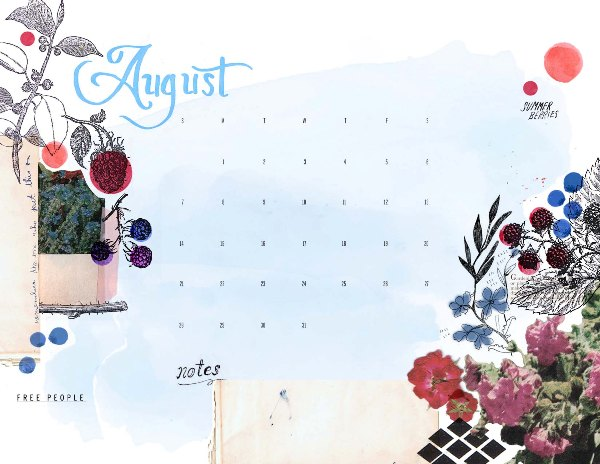 Post image for August Calendar Download