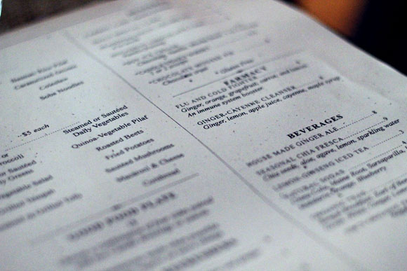 vegan menu