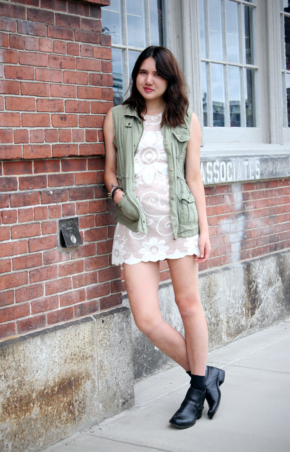 Dylana Suarez in Minidress and Cargo Vest