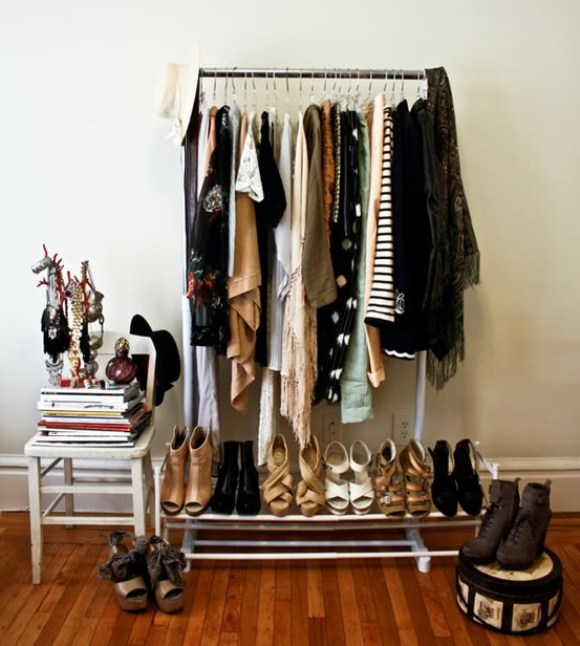 Clothes RackClothes as Home D cor  Would you do it . Garment Rack For Bedroom. Home Design Ideas
