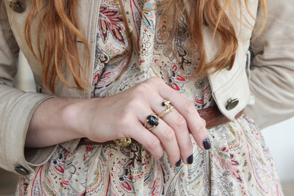 Printed Dress, Shrunken Leather Jacket, Rings
