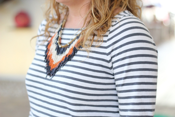 Tribal Necklace and Striped Shirt