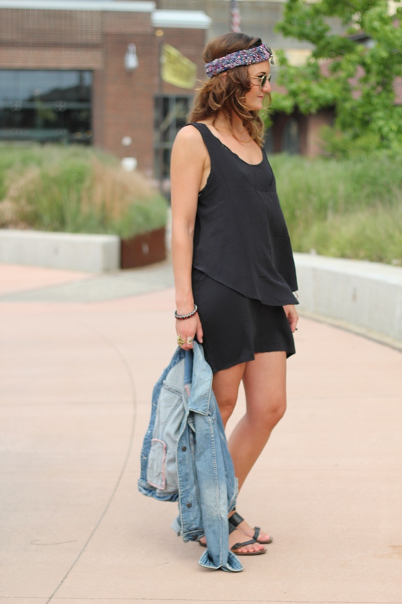 Black Dress, Denim Jacket