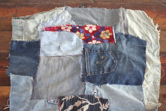 diy patchwork denim throw rug