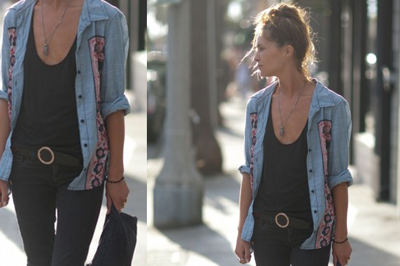 Erin Wasson denim shirt style