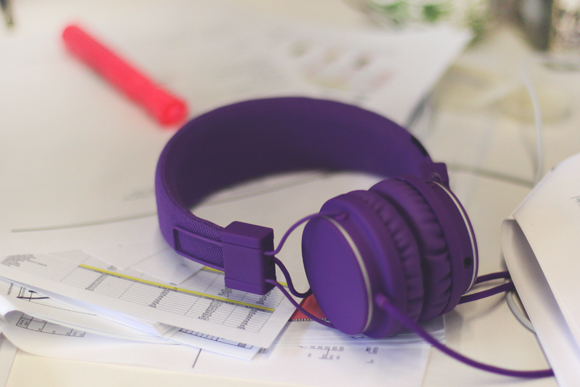 purple headphones
