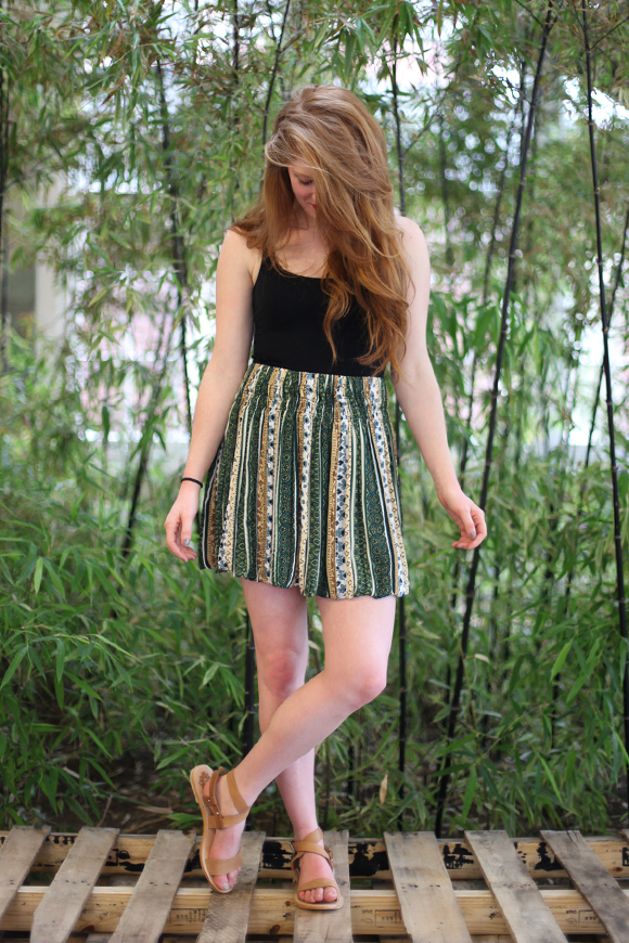 Green Printed Skirt