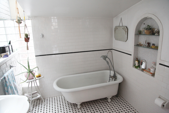 black and white bathrooms vintage. Black and White Tile Bathroom Home Tour  Inside Our Senior Graphic Designer s Treasure Filled Loft
