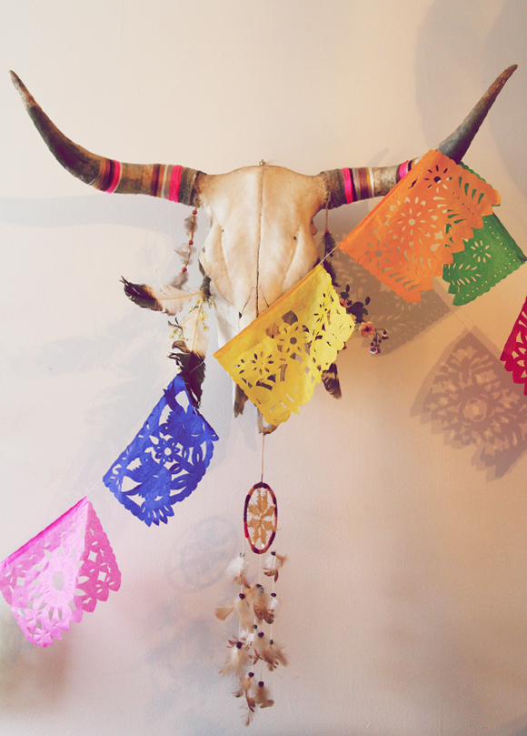 Skull, dreamcatcher, paper flags