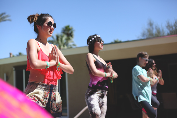 coachella yoga by pool