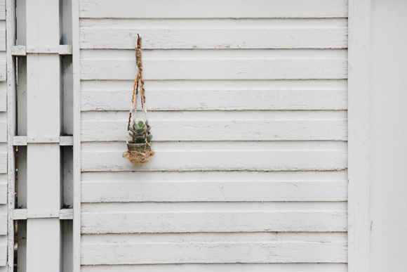 DIY hanging crochet plant holder on white wall