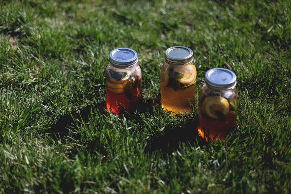 Homemade sun tea in mason jars