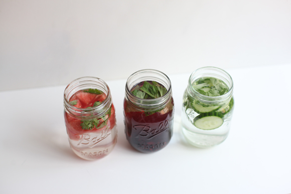 Infused water in mason jars