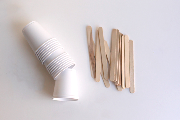 Plastic cups, wooden sticks