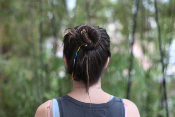 Top knot with hair wrap