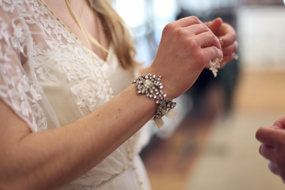 Vintage rhinestone bracelet, lace dress