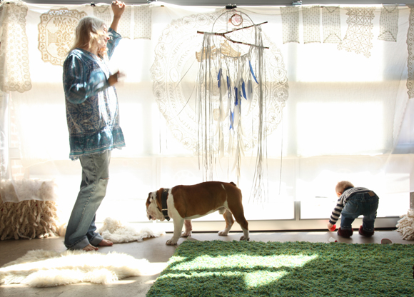 mother and son with bulldog