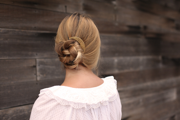 Braided blonde bun