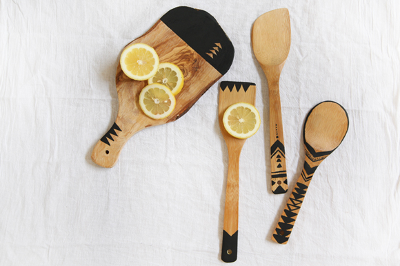 Post image for Geo Painted Wooden Kitchen Tools