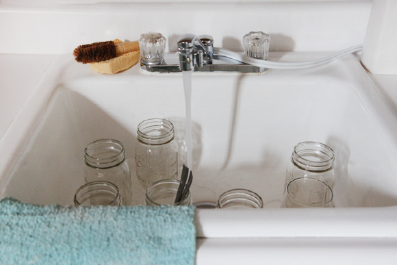 Mason jars in sink