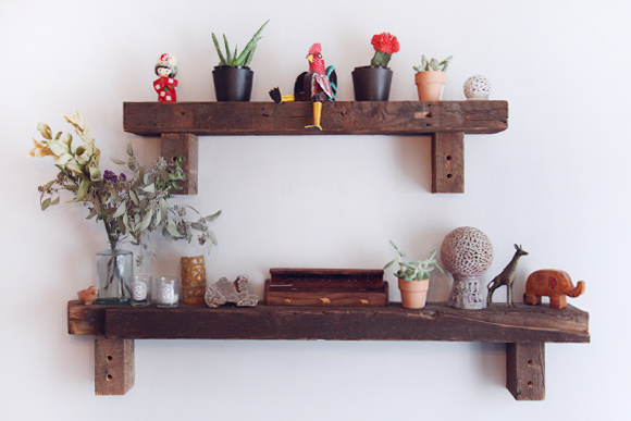 Natural wooden shelf