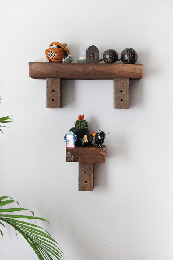 Natural wooden shelving