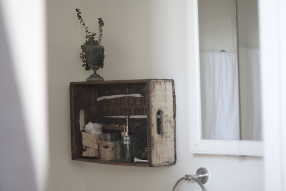 Vintage crate shelf, bathroom