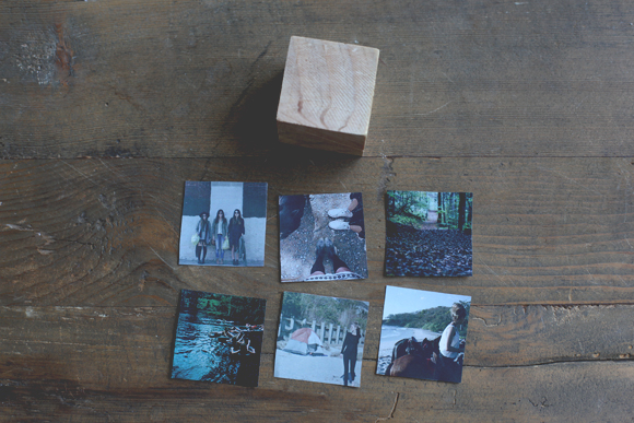Wooden block, mini photos