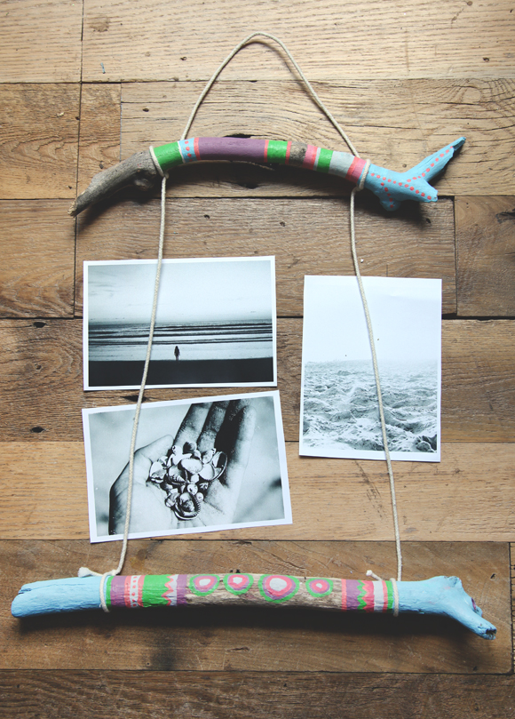 diy painted stick photo display