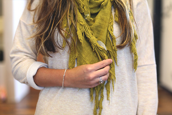 office style green scarf