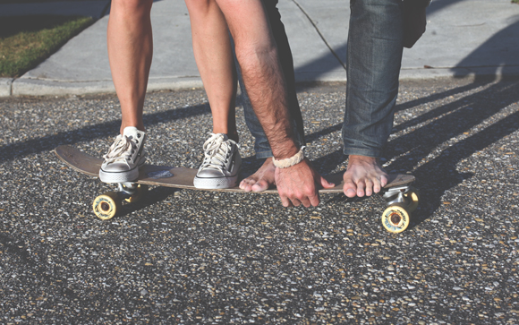 boy and girl on skateboard