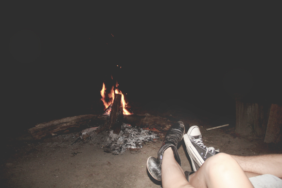 Feet by campfire