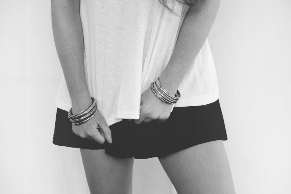 White tank, black skirt