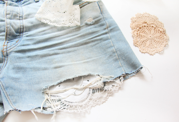 diy patching denim with lace