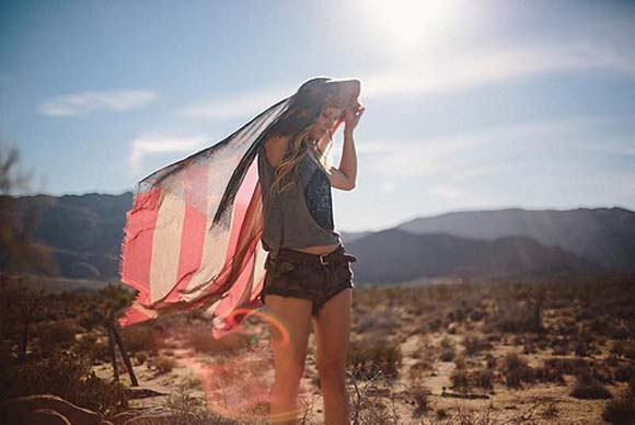 tattered flag scarf under the sun