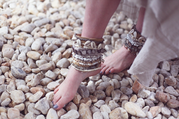 diy embellished shell cuffs