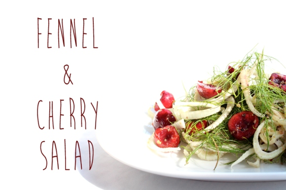 fennel and cherry salad with text