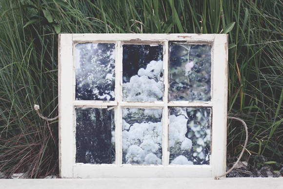 Decoupaged antique window