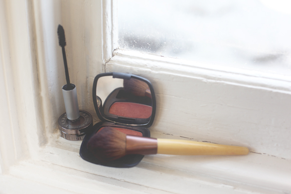 Makeup on windowsill