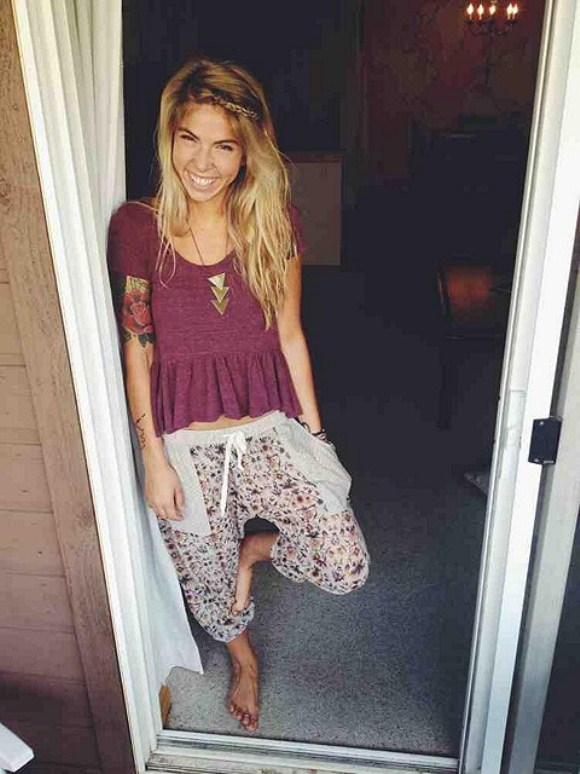 lounge pants and maroon top