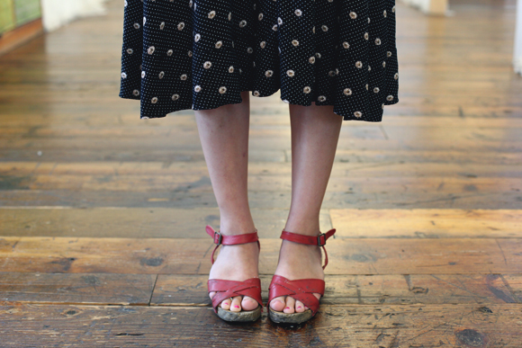 floral dress and red shoes