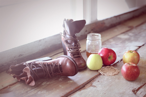 Fall boots and apples