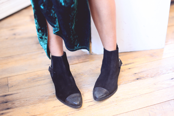 Green velvet dress, black ankle boots