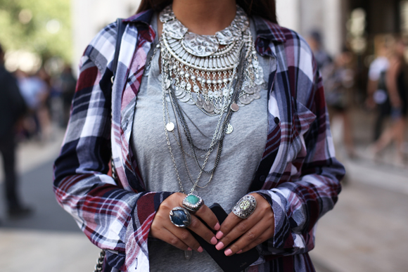 NY Fashion Week - layered necklaces