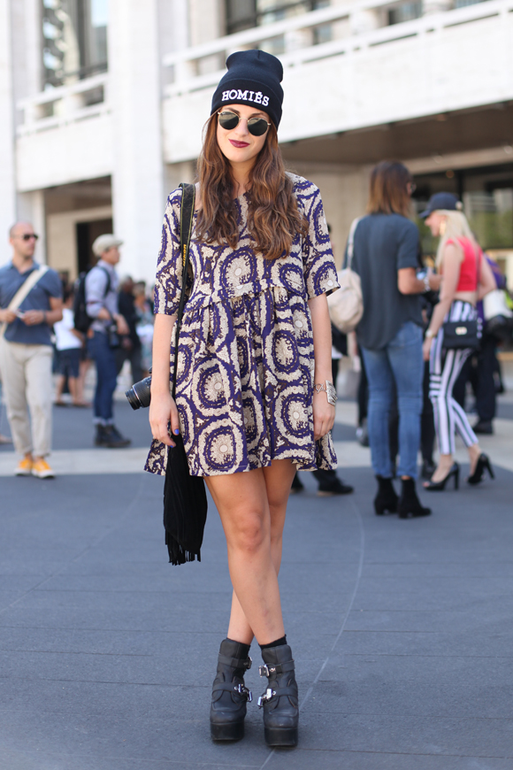 NY Fashion Week - printed dress, beanie
