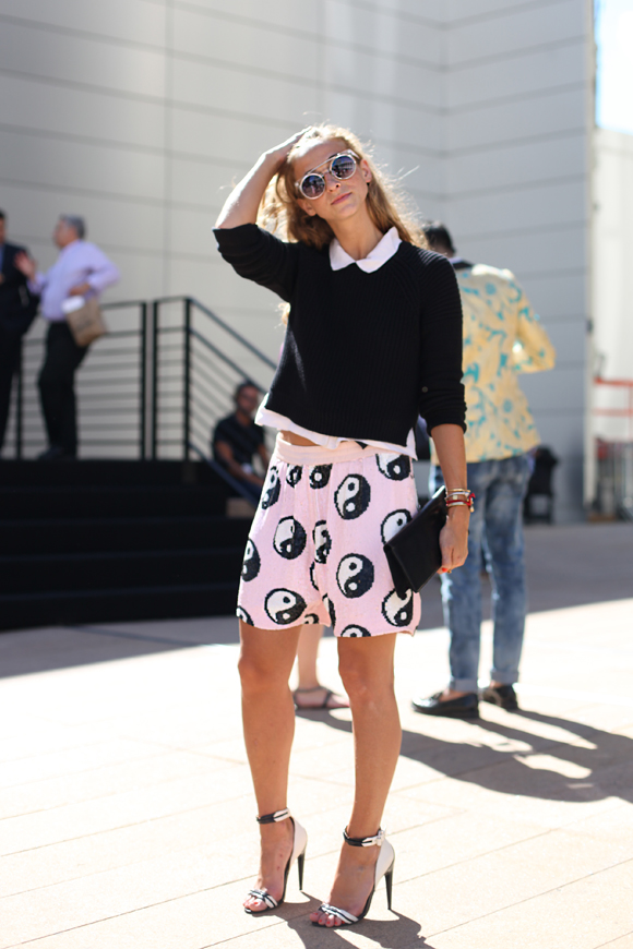 NY Fashion Week - yin yang shorts