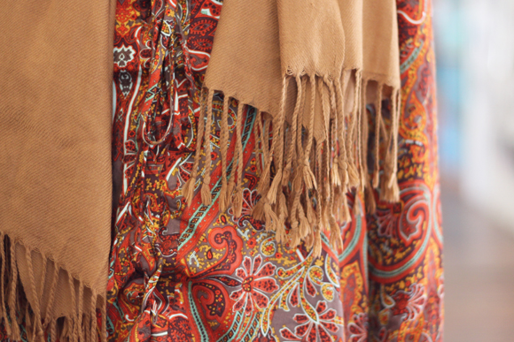 Printed dress, tan scarf