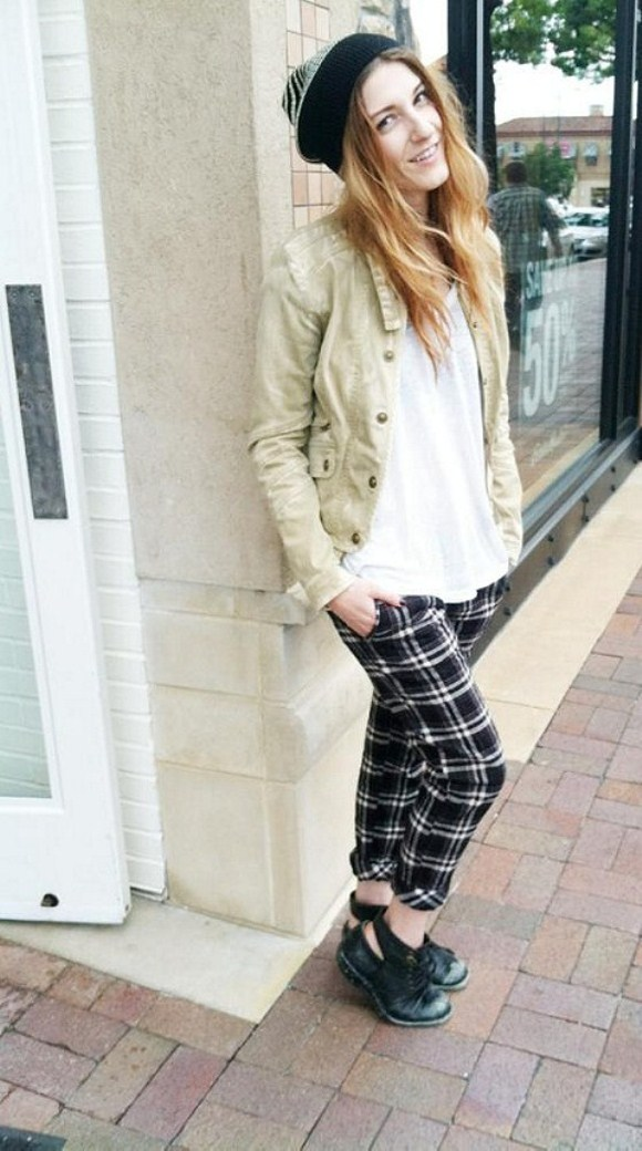 girl in plaid pants